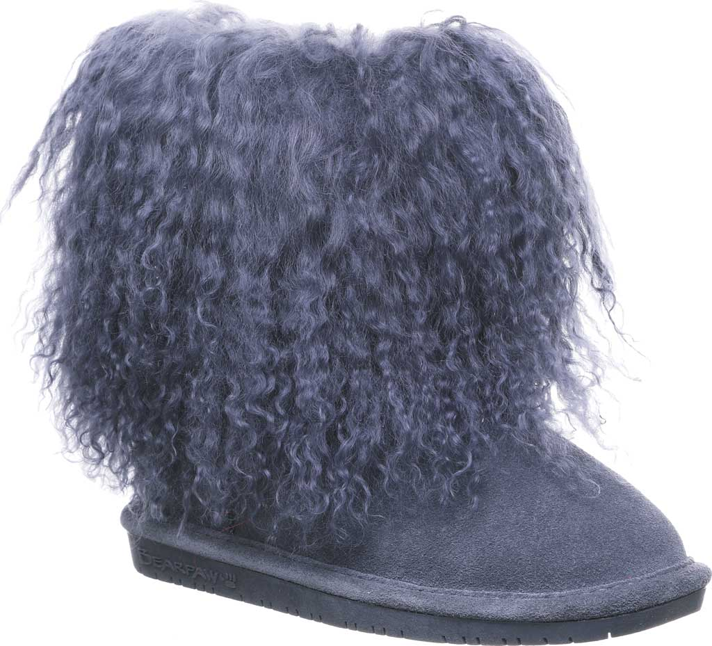Girls' Bearpaw Boo Ankle Boot, Charcoal Suede/Curly Lamb Fur, large, image 1