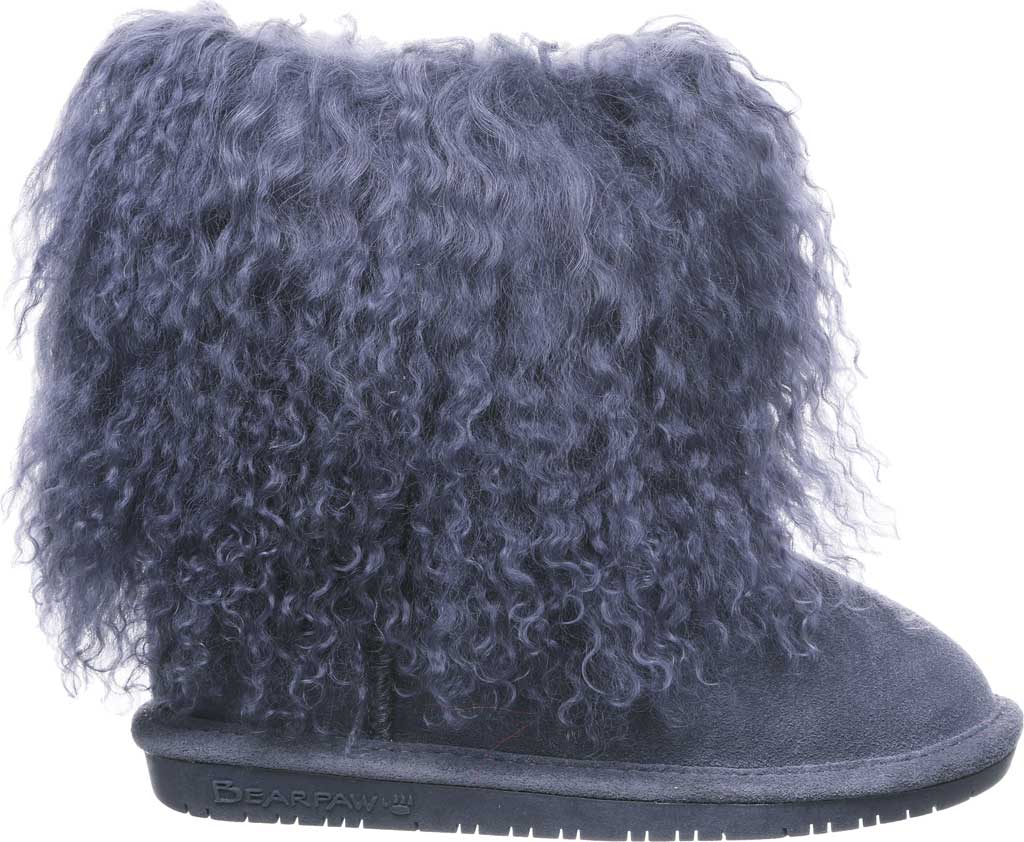 Girls' Bearpaw Boo Ankle Boot, Charcoal Suede/Curly Lamb Fur, large, image 2