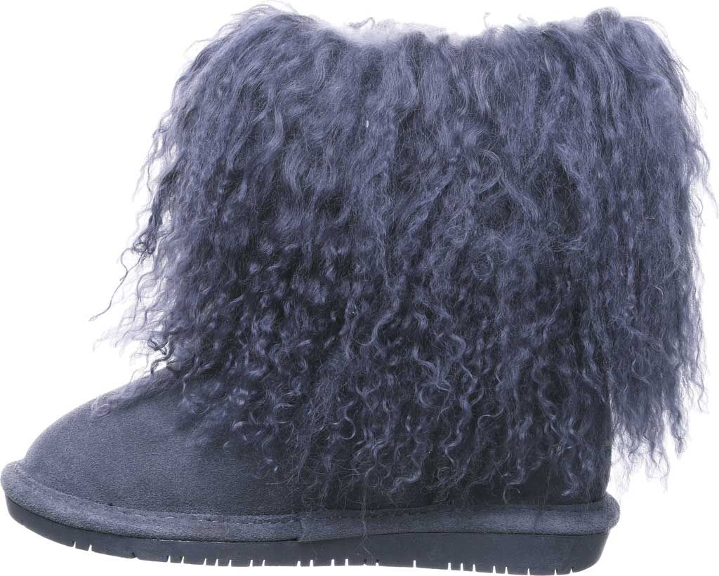 Girls' Bearpaw Boo Ankle Boot, Charcoal Suede/Curly Lamb Fur, large, image 3