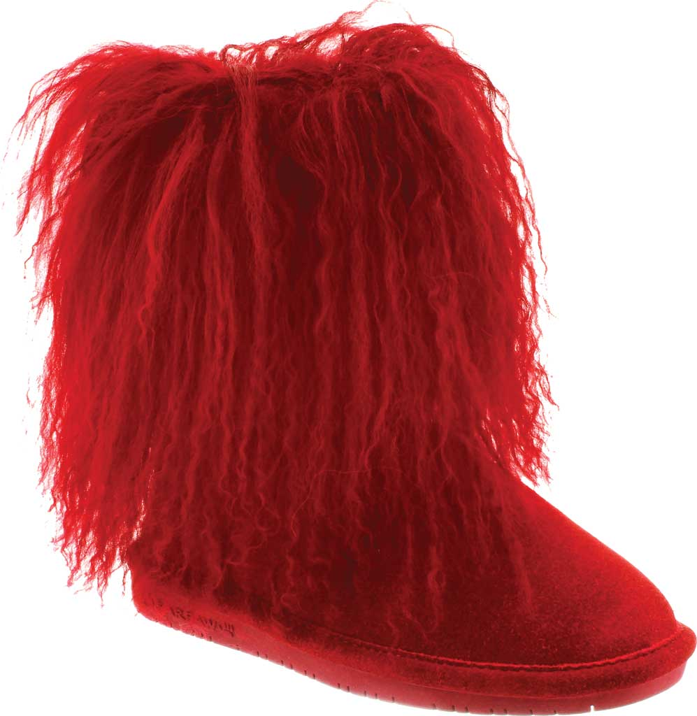 Girls' Bearpaw Boo Ankle Boot, Red Suede/Curly Lamb Fur, large, image 1