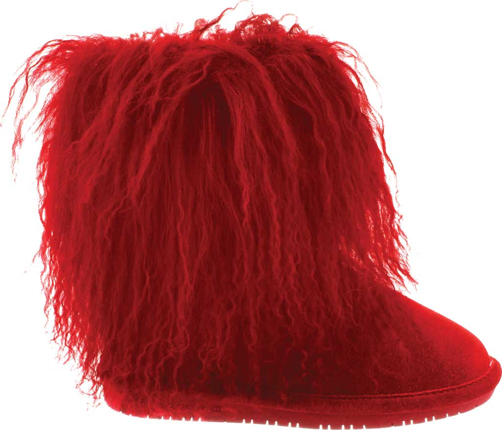 Girls' Bearpaw Boo Ankle Boot, Red Suede/Curly Lamb Fur, large, image 2