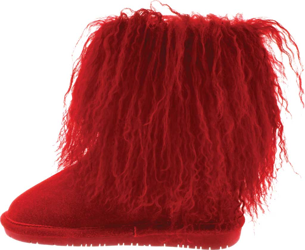 Girls' Bearpaw Boo Ankle Boot, Red Suede/Curly Lamb Fur, large, image 3