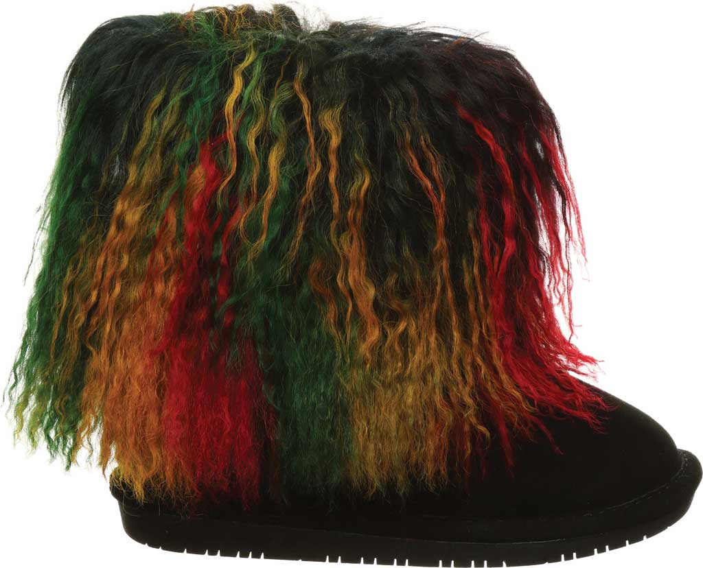 Girls' Bearpaw Boo Ankle Boot, Rasta Suede/Curly Lamb, large, image 2