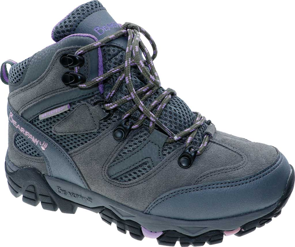 Women's Bearpaw Corsica Solids Waterproof Hiking Boot, Gray Fog Suede/Nylon Mesh, large, image 1