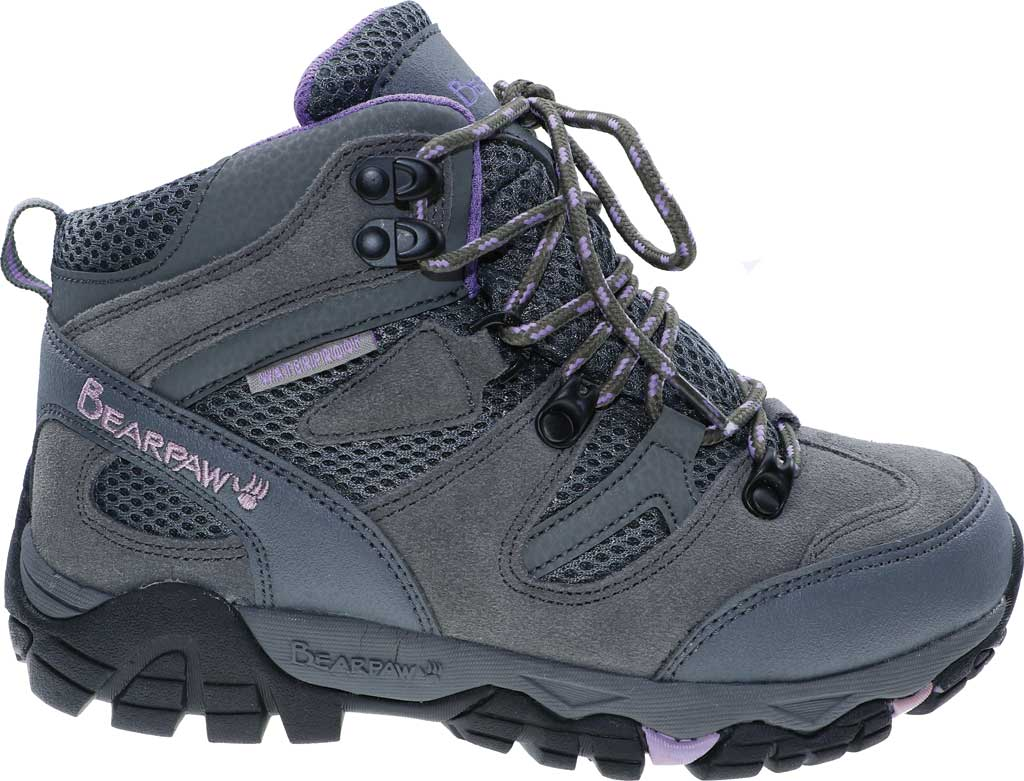 Women's Bearpaw Corsica Solids Waterproof Hiking Boot, Gray Fog Suede/Nylon Mesh, large, image 2