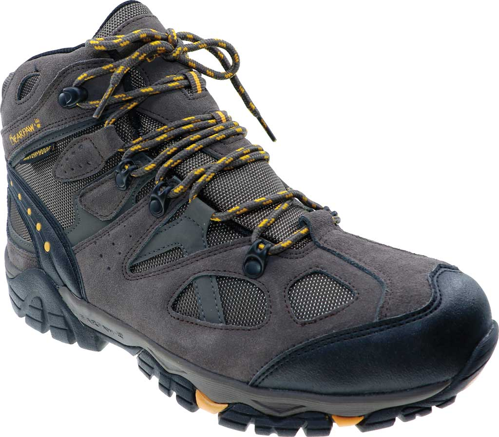 Men's Bearpaw Brock Solids Waterproof Hiking Boot, Taupe Suede/Mesh, large, image 1