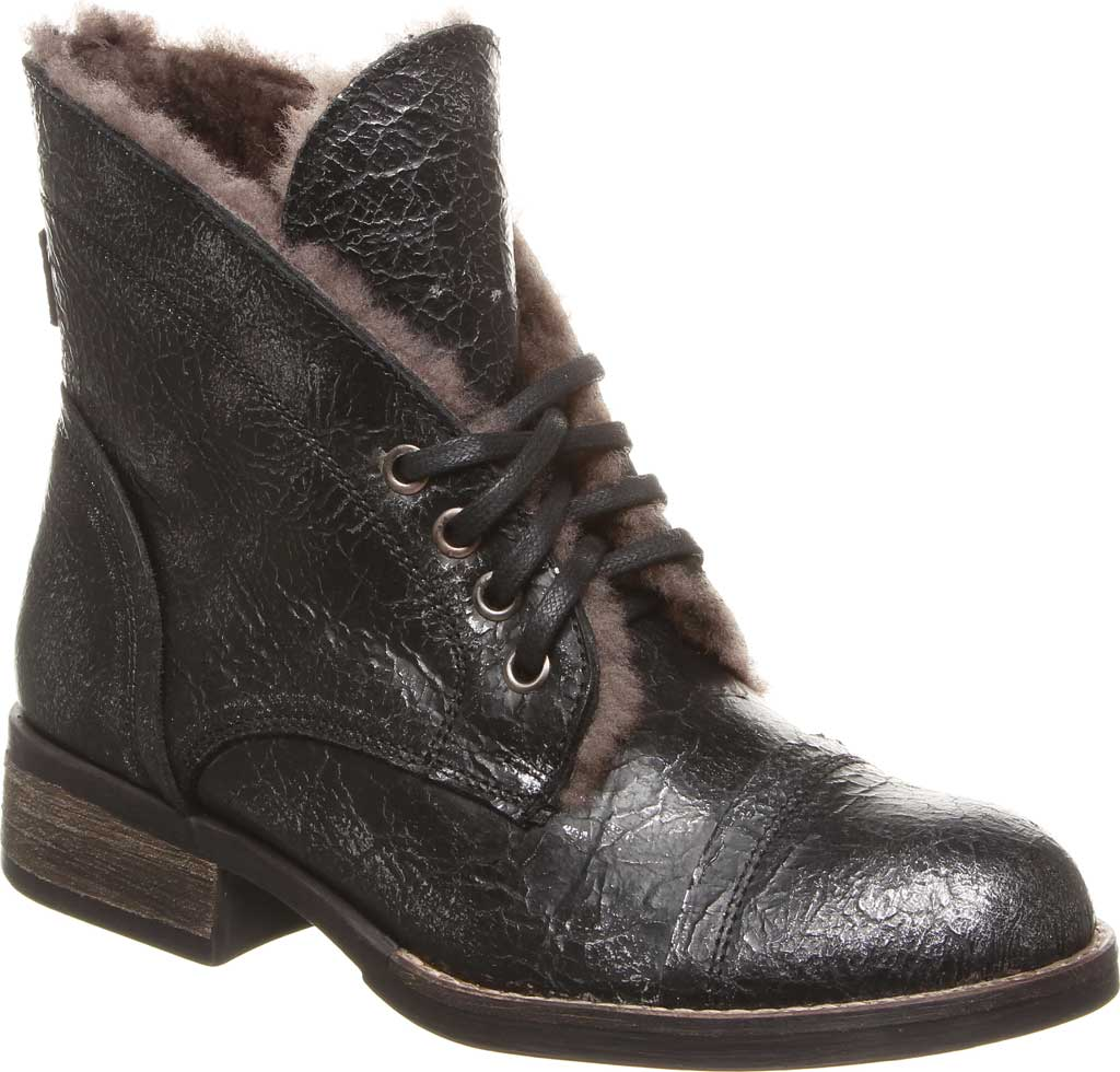 Women's Luxe de Leon Carmen Bootie, Pewter Metallic Waxed Leather, large, image 1