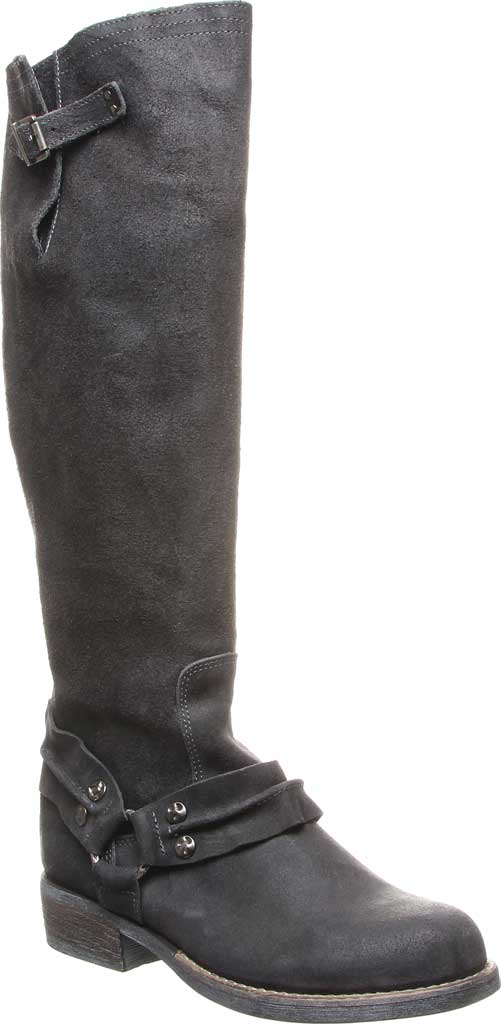 Women's Luxe de Leon Templo Tall Harness Boot, Smoke Distressed Leather/Genuine Shearling, large, image 1