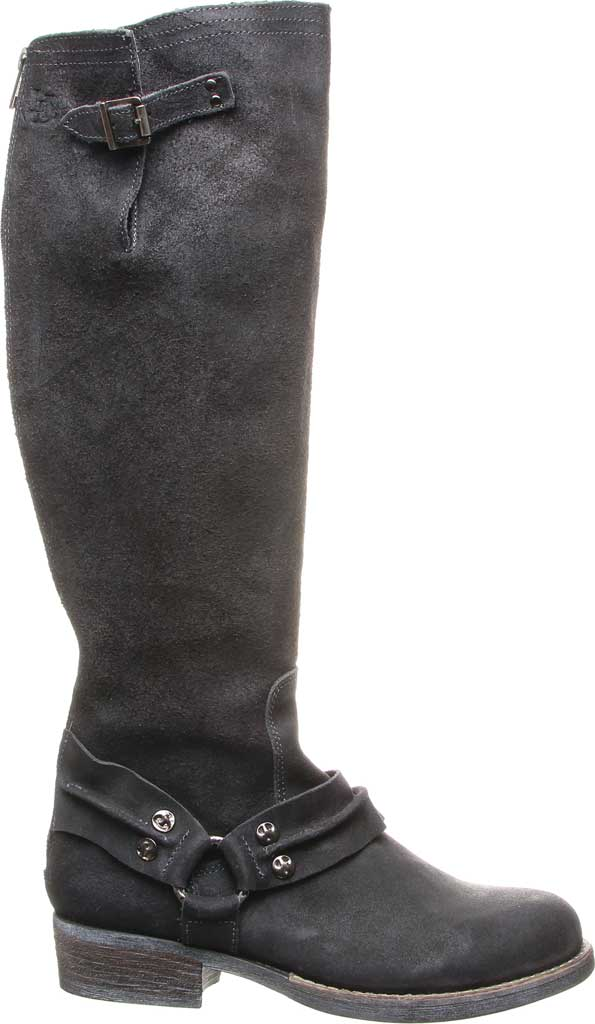 Women's Luxe de Leon Templo Tall Harness Boot, Smoke Distressed Leather/Genuine Shearling, large, image 2
