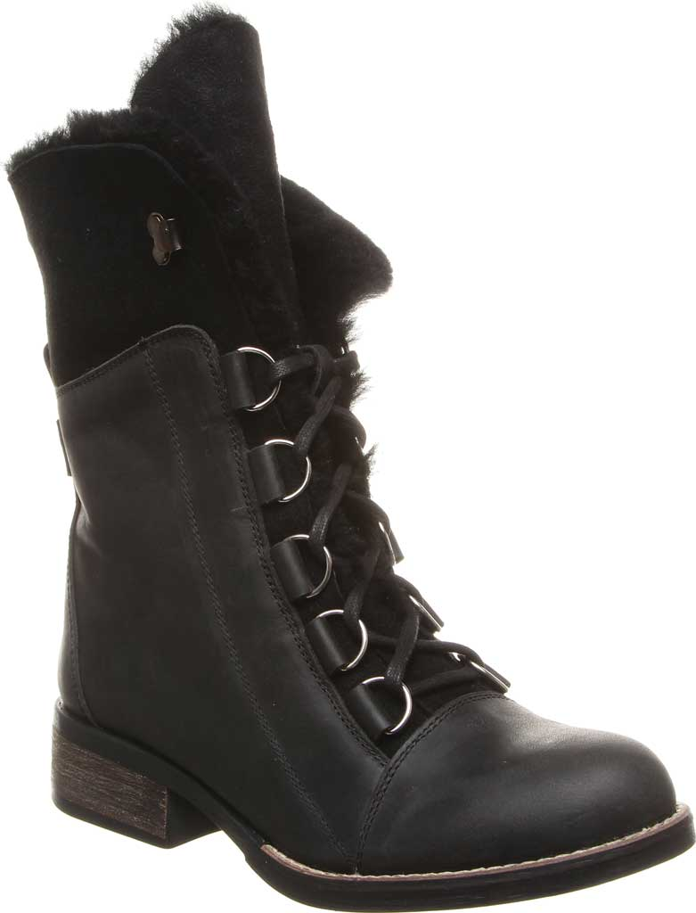 Women's Luxe de Leon Aura Lace-Up Boot, Ebony Antiqued Leather, large, image 1