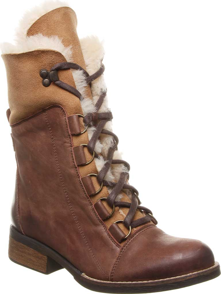 Women's Luxe de Leon Aura Lace-Up Boot, Tobacco Antiqued Leather, large, image 1