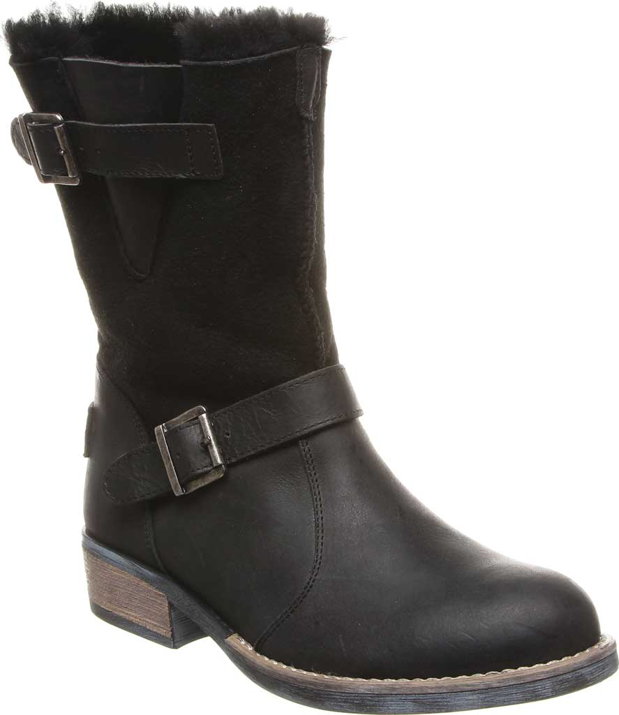 Women's Luxe de Leon Conquista Boot, Ebony Sheepskin/Antiqued Leather, large, image 1
