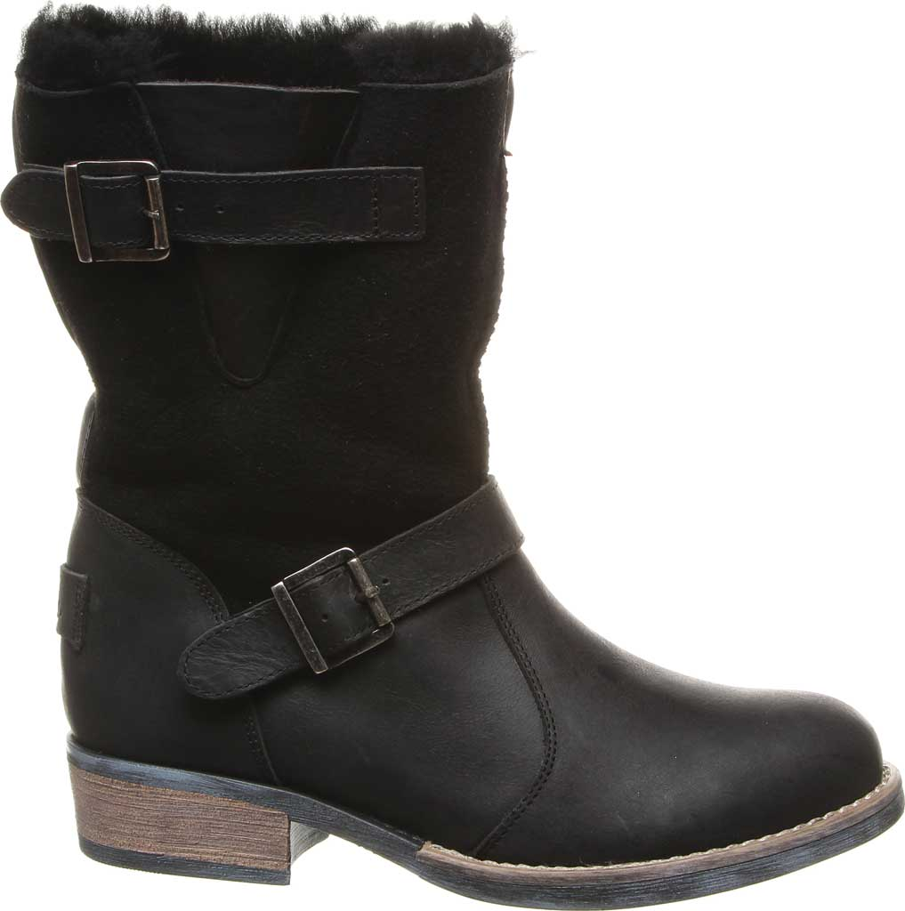 Women's Luxe de Leon Conquista Boot, Ebony Sheepskin/Antiqued Leather, large, image 2