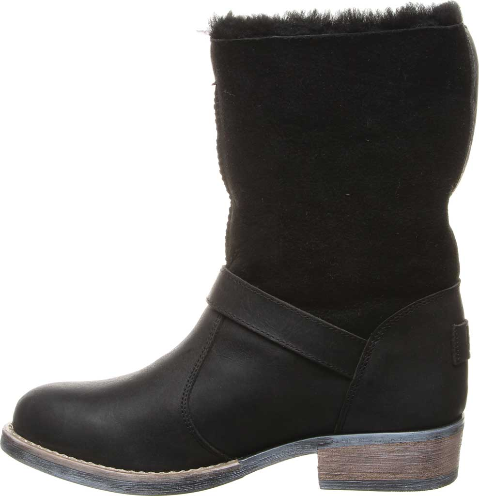 Women's Luxe de Leon Conquista Boot, Ebony Sheepskin/Antiqued Leather, large, image 3