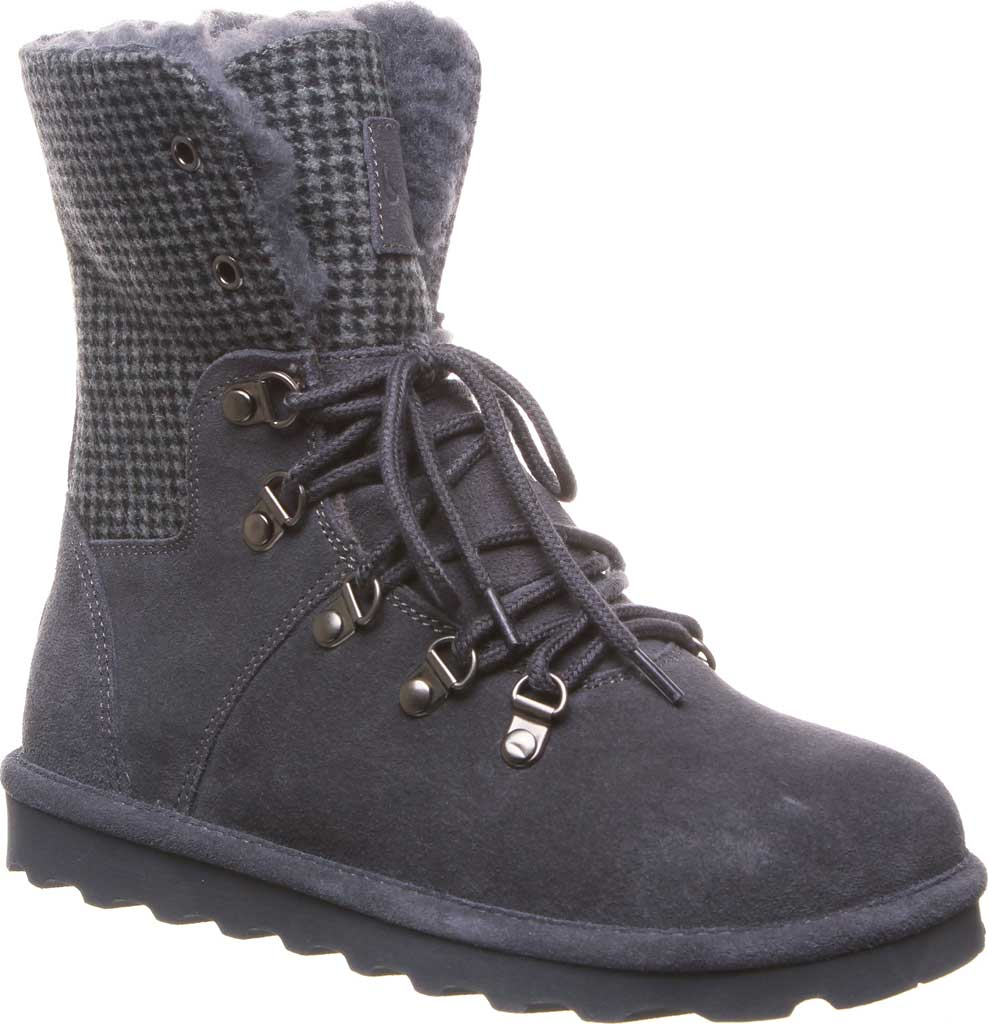 Women's Bearpaw Maria Lace Up Boot, Charcoal Suede/Textile, large, image 1