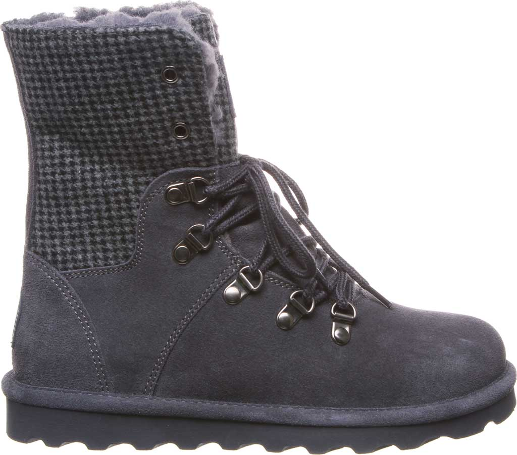 Women's Bearpaw Maria Lace Up Boot, Charcoal Suede/Textile, large, image 2