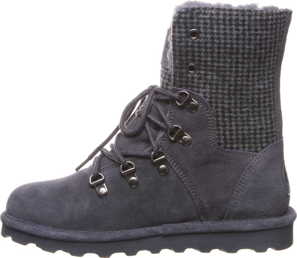Women's Bearpaw Maria Lace Up Boot, Charcoal Suede/Textile, large, image 3