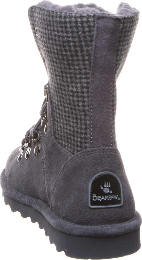 Women's Bearpaw Maria Lace Up Boot, Charcoal Suede/Textile, large, image 4