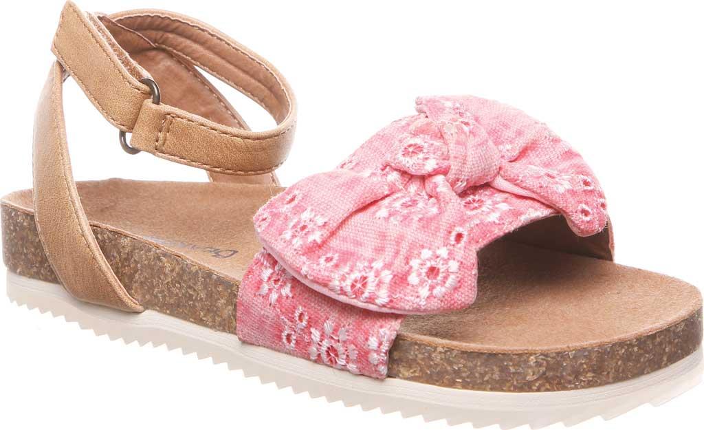 Girls' Bearpaw Genesis Ankle Strap Sandal, Blush Faux Leather/Canvas, large, image 1