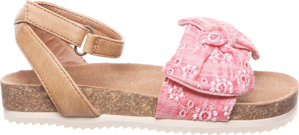 Girls' Bearpaw Genesis Ankle Strap Sandal, Blush Faux Leather/Canvas, large, image 2