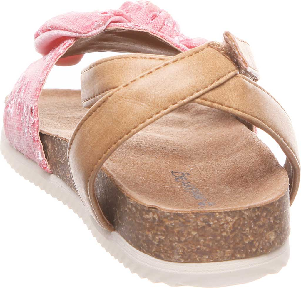 Girls' Bearpaw Genesis Ankle Strap Sandal, Blush Faux Leather/Canvas, large, image 4