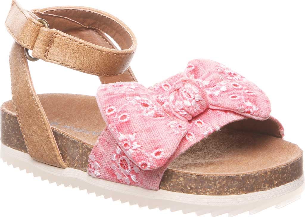 Infant Girls' Bearpaw Genesis Ankle Strap Sandal, Blush Faux Leather/Canvas, large, image 1