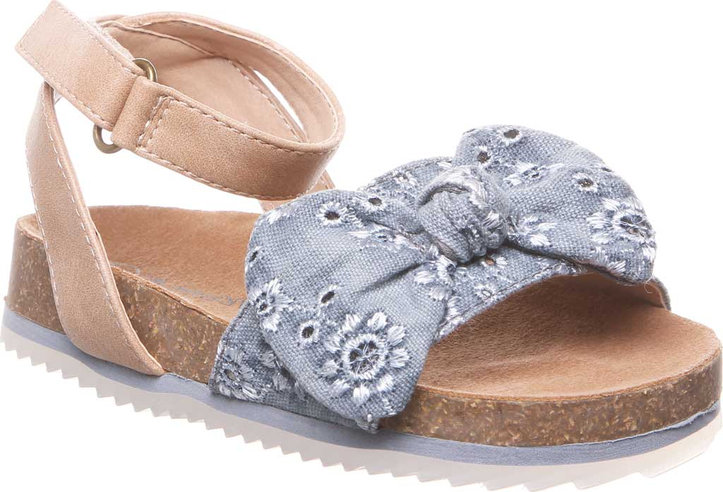 Infant Girls' Bearpaw Genesis Ankle Strap Sandal, Chambray Faux Leather/Canvas, large, image 1