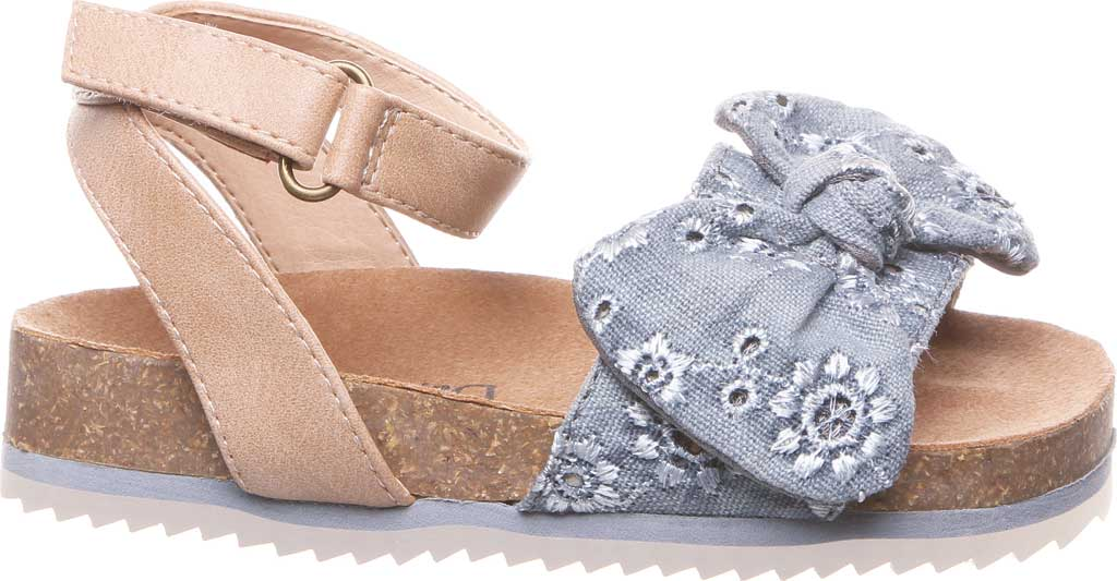 Infant Girls' Bearpaw Genesis Ankle Strap Sandal, Chambray Faux Leather/Canvas, large, image 2