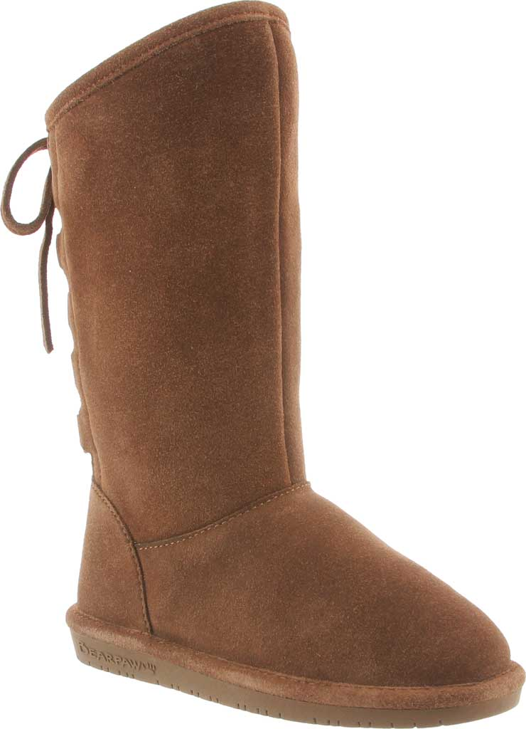 Girls' Bearpaw Phylly Youth Lace Up Boot, Hickory II Suede, large, image 1
