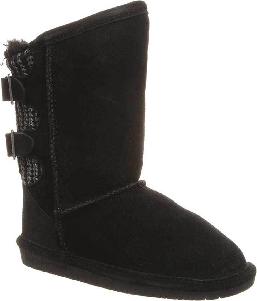 Girls' Bearpaw Boshie Youth Boot, Black Neverwet Suede/Knit, large, image 1