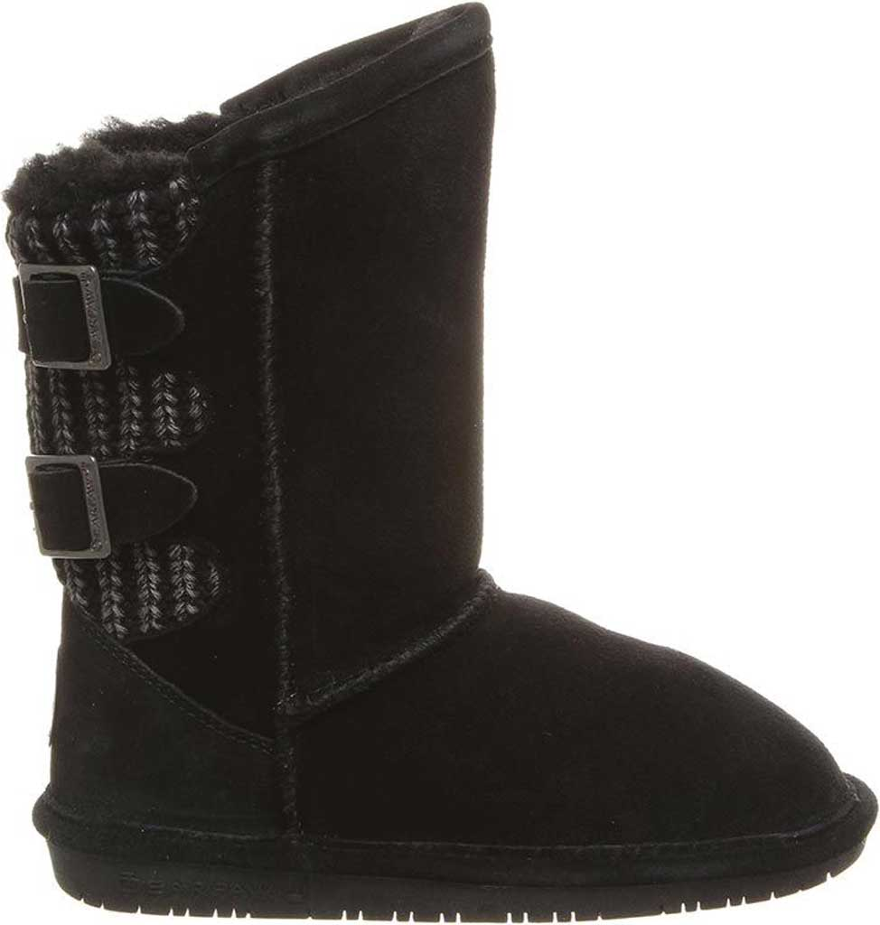 Girls' Bearpaw Boshie Youth Boot, Black Neverwet Suede/Knit, large, image 2