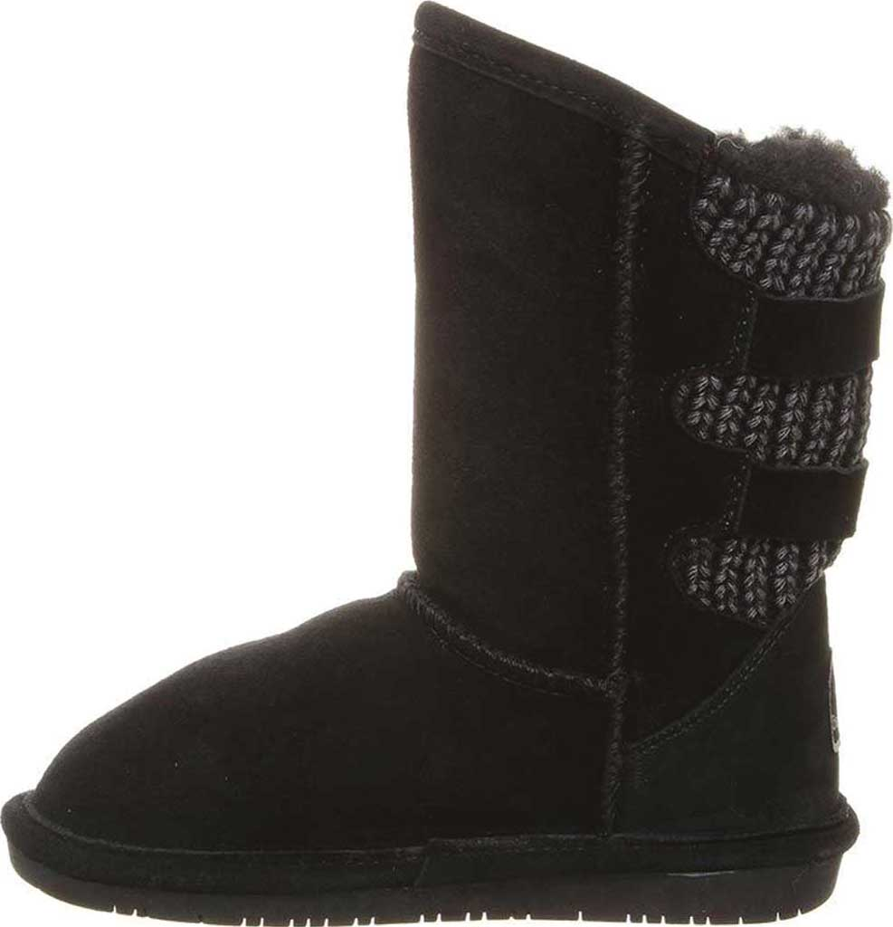 Girls' Bearpaw Boshie Youth Boot, Black Neverwet Suede/Knit, large, image 3
