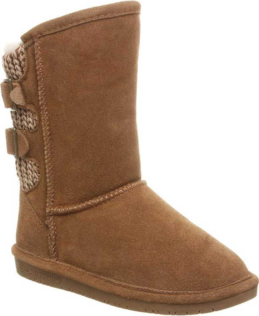 Girls' Bearpaw Boshie Youth Boot, Hickory Neverwet Suede/Knit, large, image 1