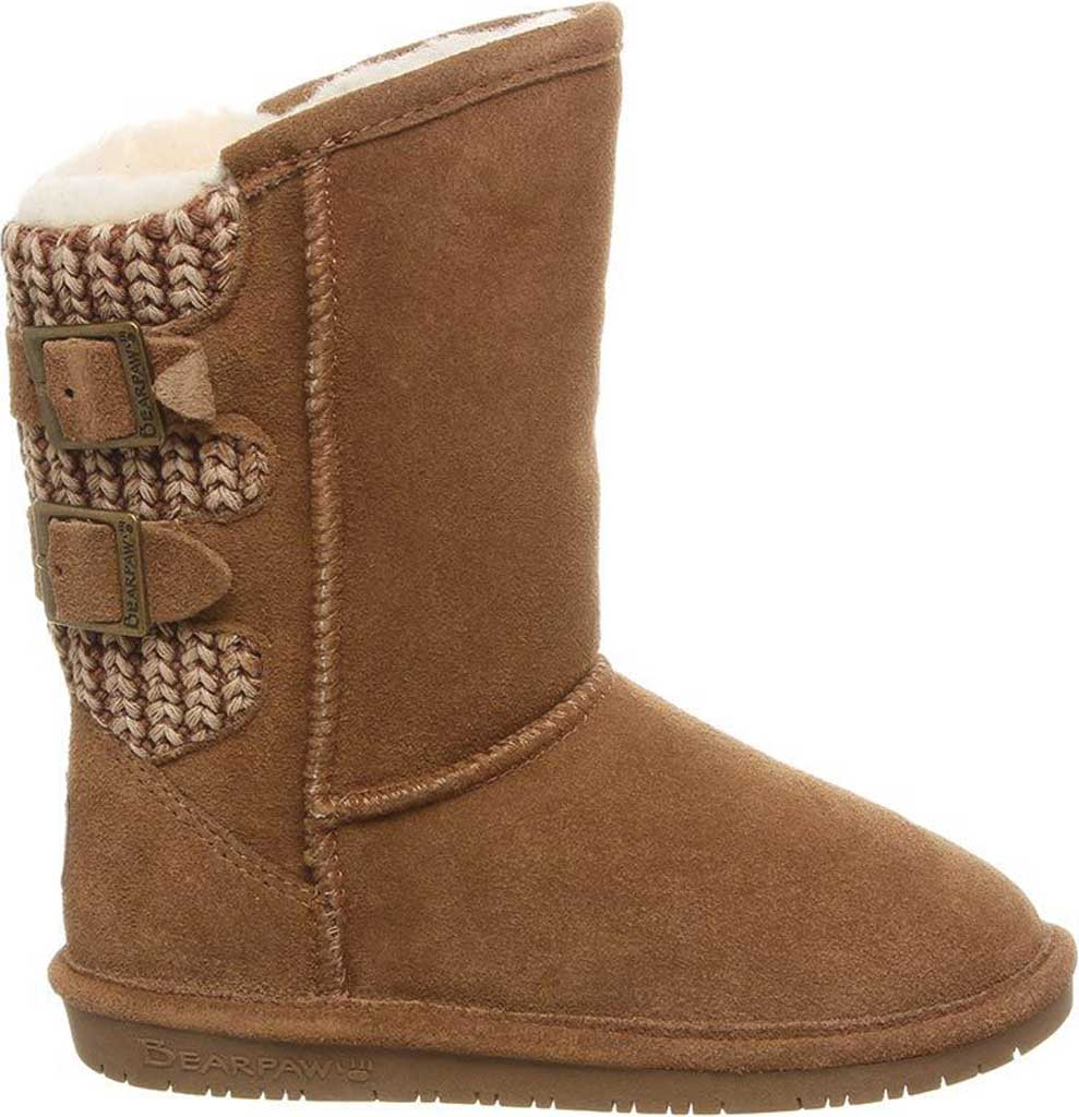 Girls' Bearpaw Boshie Youth Boot, Hickory Neverwet Suede/Knit, large, image 2