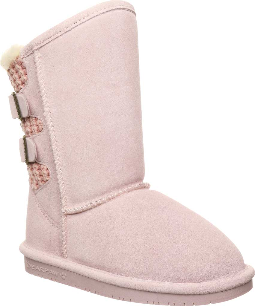 Girls' Bearpaw Boshie Youth Boot, Pale Pink Suede/Knit, large, image 1