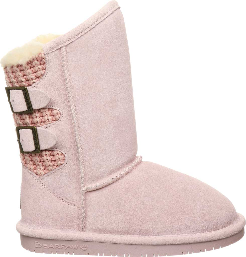 Girls' Bearpaw Boshie Youth Boot, Pale Pink Suede/Knit, large, image 2