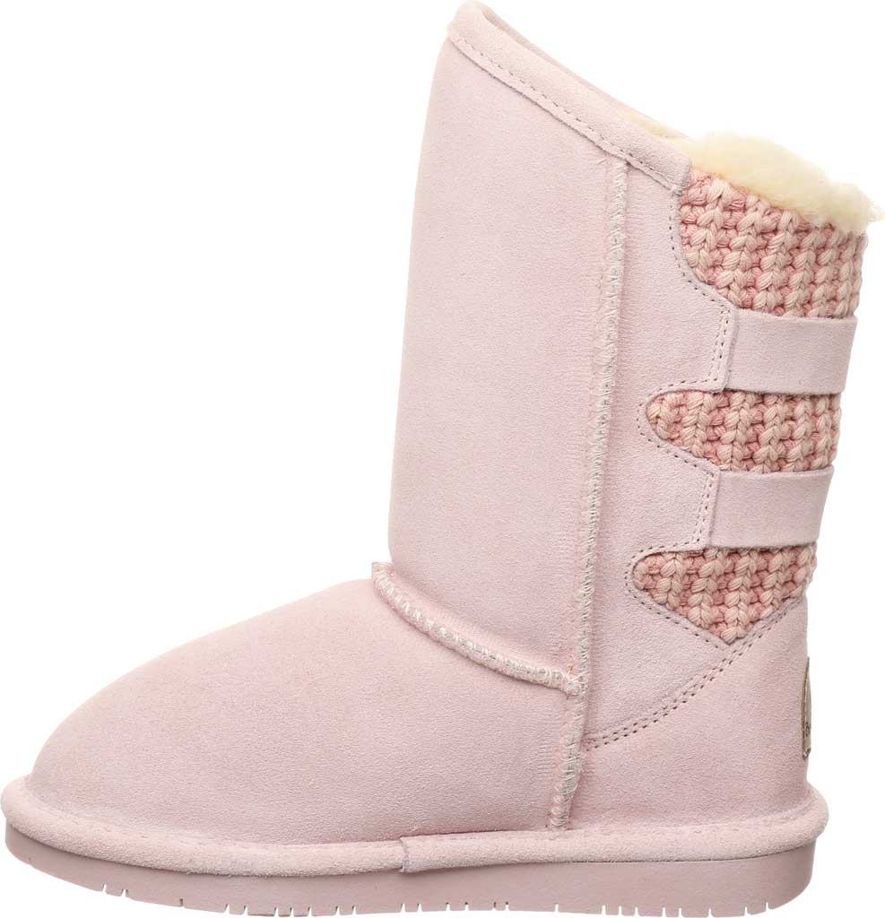 Girls' Bearpaw Boshie Youth Boot, Pale Pink Suede/Knit, large, image 3