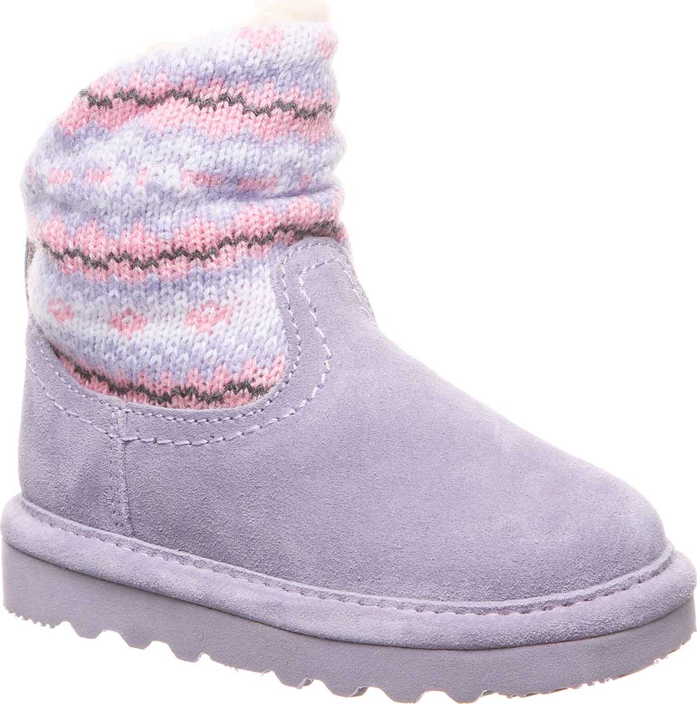 Infant Girls' Bearpaw Virginia Bootie, Wisteria Suede/Knit, large, image 1