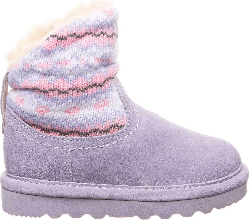 Infant Girls' Bearpaw Virginia Bootie, Wisteria Suede/Knit, large, image 2