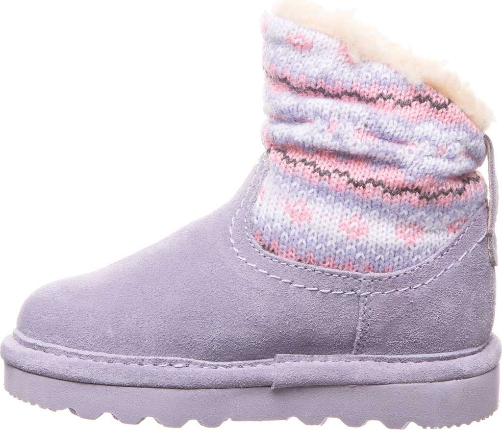 Infant Girls' Bearpaw Virginia Bootie, Wisteria Suede/Knit, large, image 3