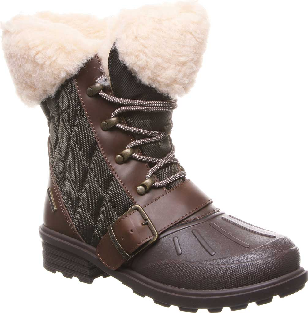 Women's Bearpaw Delta Winter Boot, Brown Action Leather/Quilted Nylon, large, image 1