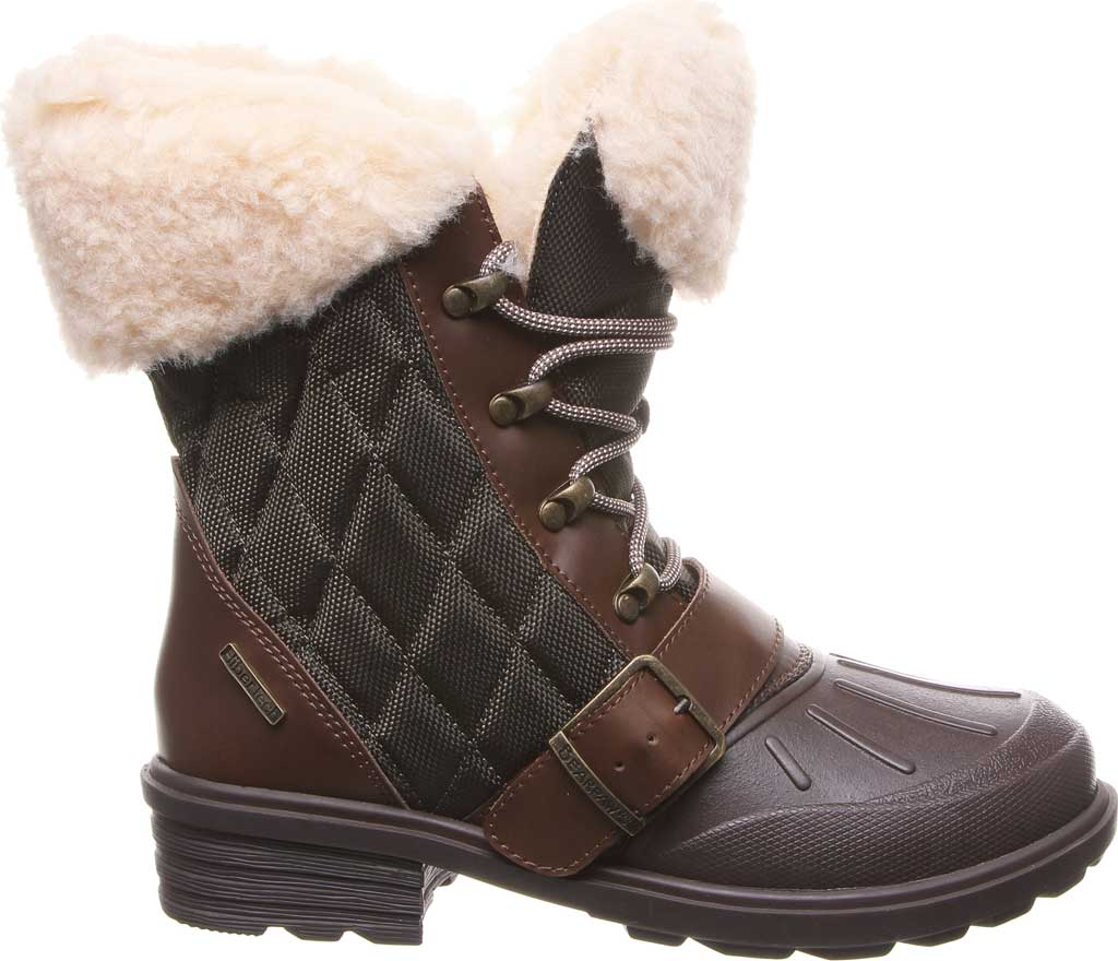 Women's Bearpaw Delta Winter Boot, Brown Action Leather/Quilted Nylon, large, image 2