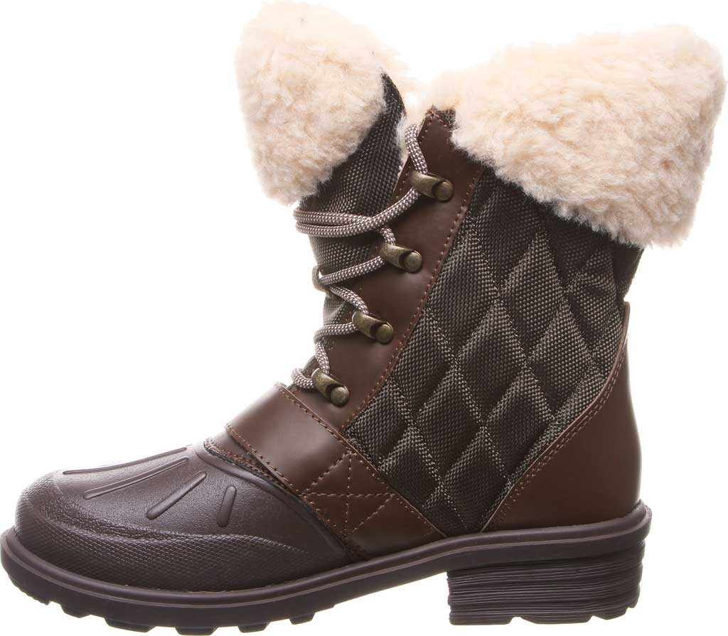 Women's Bearpaw Delta Winter Boot, Brown Action Leather/Quilted Nylon, large, image 3