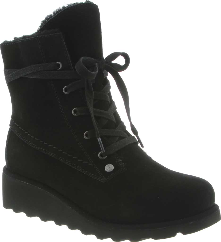 Girls' Bearpaw Krista Lace Up Bootie Youth, Black II Suede, large, image 1