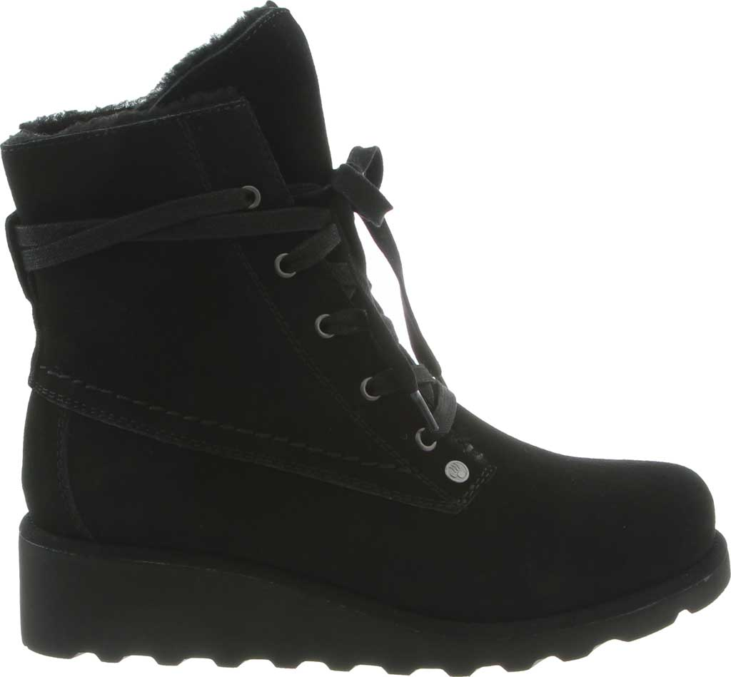 Girls' Bearpaw Krista Lace Up Bootie Youth, Black II Suede, large, image 2