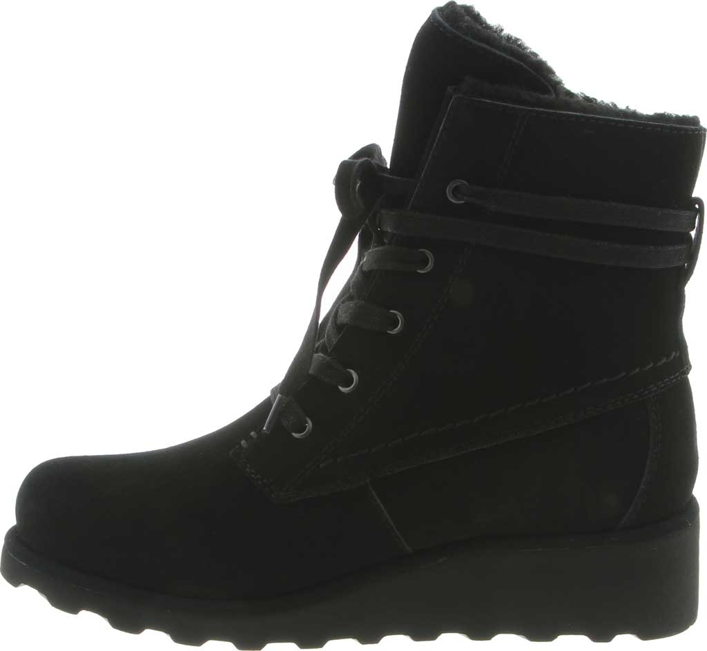 Girls' Bearpaw Krista Lace Up Bootie Youth, Black II Suede, large, image 3