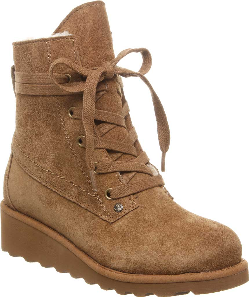 Girls' Bearpaw Krista Lace Up Bootie Youth, Hickory II Suede, large, image 1