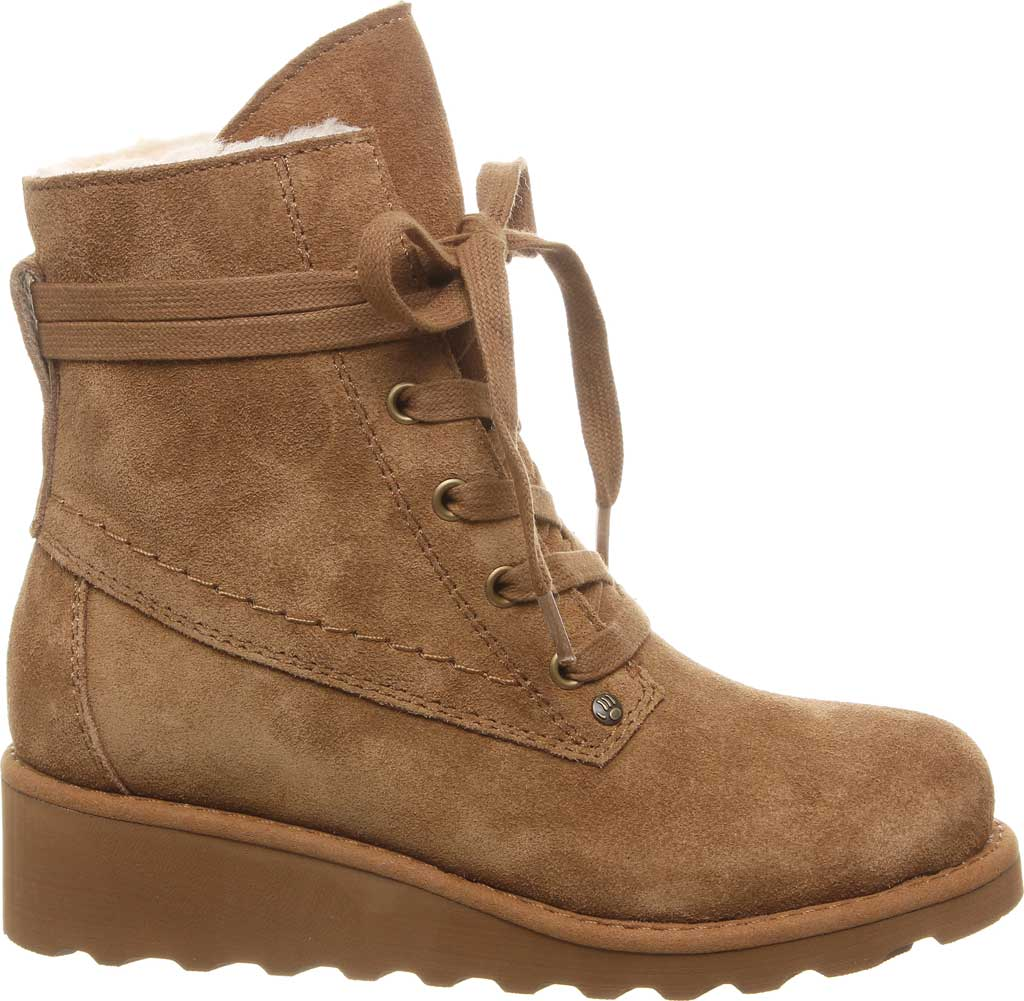 Girls' Bearpaw Krista Lace Up Bootie Youth, Hickory II Suede, large, image 2
