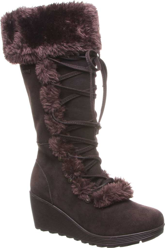 Women's Bearpaw Minka Tall Boot, Chocolate Suede/Faux Fur, large, image 1