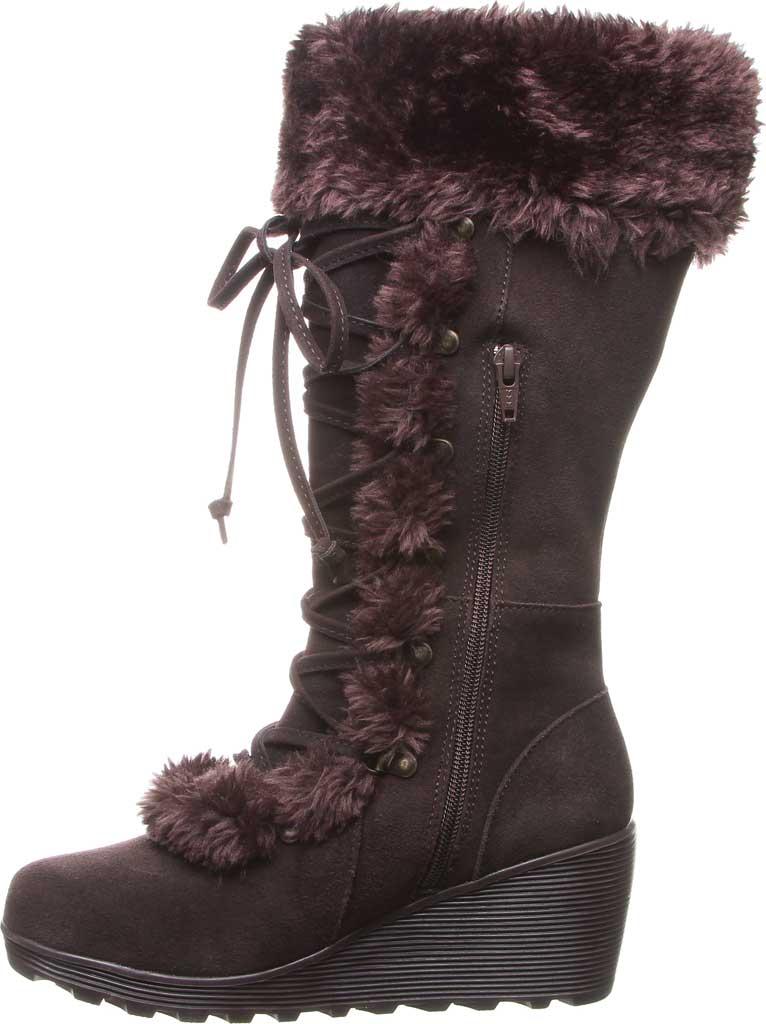 Women's Bearpaw Minka Tall Boot, Chocolate Suede/Faux Fur, large, image 3
